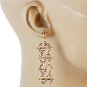 Gold Rhinestone $$ Money Sign Word Dangle Earrings